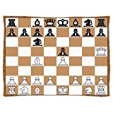 Super Soft Throw Blanket Custom Design Cozy Fleece Blanket,Board Game,Opening Position on Chessboard Letters Numbers Squares Pieces Print,Brown Light Brown Black,Perfect for Couch Sofa or Bed