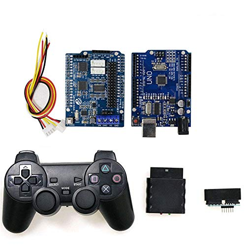 Wireless Handle Control RC Kit with UNO Board+ Motor Drive Shield Board+ handle for Arduino Robot Tank Car Compatible with PS2