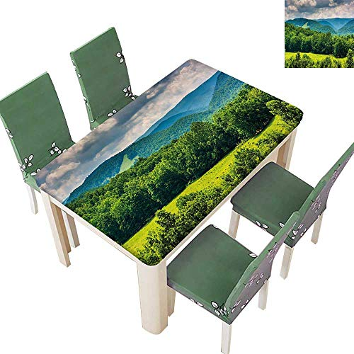 - Printsonne Natural Tablecloth of Mountains in Potomac Highlands of West Virginia Rural Scenery Picture Forest Green for Home Use, Machine Washable 52 x 108 Inch (Elastic Edge)