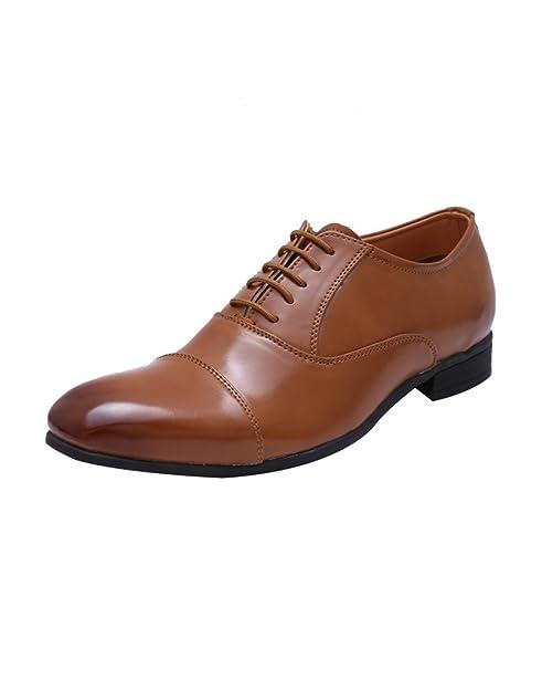 51496eee56 HiREL S Tan Oxford Cap Toe Office Formal Shoes  Buy Online at Low ...