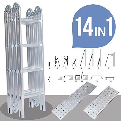 Idealchoiceproduct 15.5' Heavy Duty Gaint Aluminum Multi Purpose Folding Ladder Scaffold Ladders with 2 Platform Plates- 330Lbs by Idealchoiceproduct (Image #1)