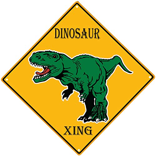 PXIYOU Dinosaur Crossing Sign Vintage Metal Tin Sign Bedroom Wall Decorations for Boys Room,Man Cave Cafe Bar Pub Beer Wall Decor 12X12Inch