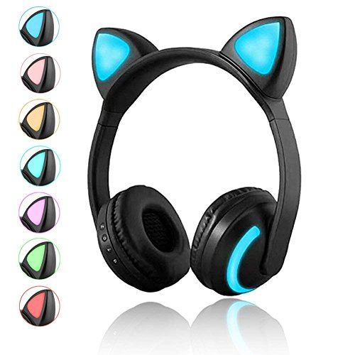 Luckyu Wireless Bluetooth Cat Ear Headphones with Mic 7 Colors LED Light Flashing Glowing On-Ear Stereo Headset Compatible with Smartphones PC Tablet -