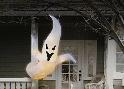 48 inch Lighted Hanging Fabric Ghost - Lighted Ghost