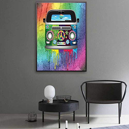 Groovy Canvas Cloth Old Style Hippie Van with Dripping Rainbow Paint Mid 60s Youth Revolution Movement Theme Canvas Art Wall Decor 40