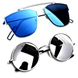 YS Combo Offer of Stylish Sunglasses for Girls in Cateye Warferer Branded Low Price ( DESBM-RDSSM) - 2 Boxes