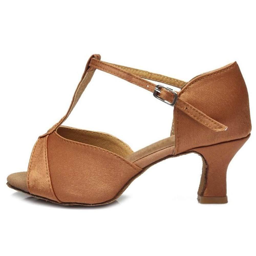 ZHIZHEN Girls Ballroom Latin Tango Dance Shoes High Heels Dance Shoes Brown 38 (5 cm) by ZHIZHEN