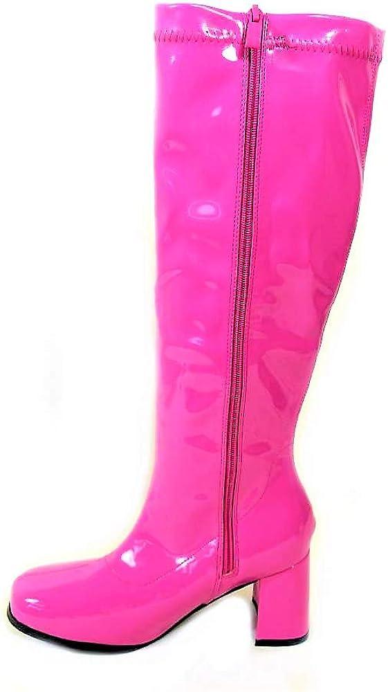 Stivali da donna stile retro Go Go per party anni 60 e 70, taglia 35 36 37 38 39 40 41,diversi modelli Hot Pink 12733