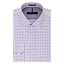 Tommy Hilfiger mens Non Iron Slim Fit Plaid Spread Collar Dress Shirt