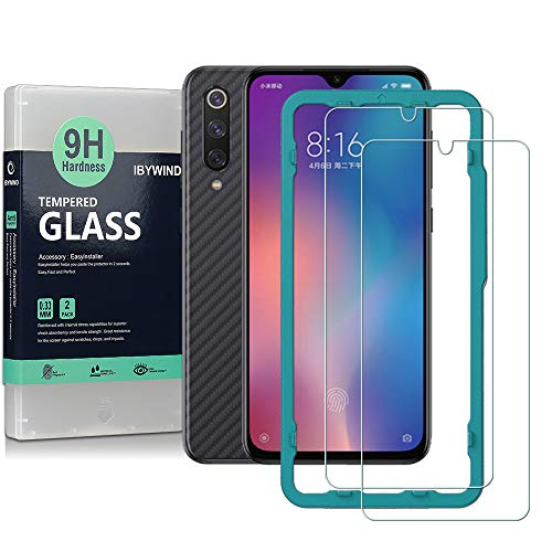 Ibywind Screen Protector for Xiaomi Mi 9 SE [Pack of 2] 9H Tempered Glass Protector with Back Carbon Fiber Skin Protector,Including Easy Install Kit