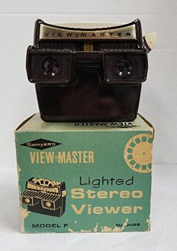 (SAWYER'S HAND-HELD ORIGINAL VINTAGE LIGHTED VIEW-MASTER REEL VIEWER - DARK BROWN PLASTIC)