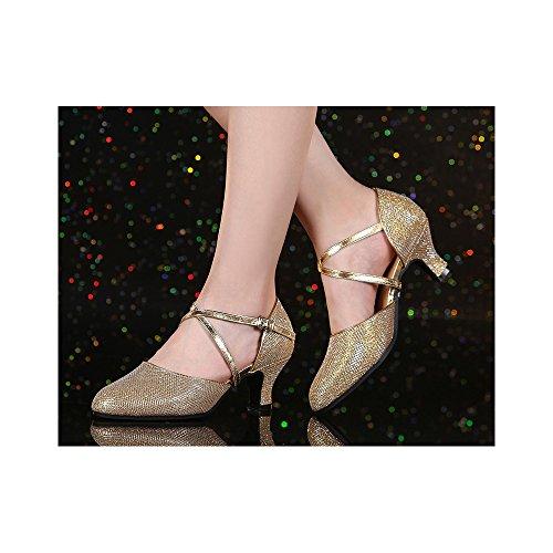 Da Donna Tacco Medio Basso Tango Ballroom Latino Party Dance Scarpe Outdoor Oro Nero 3.5cm