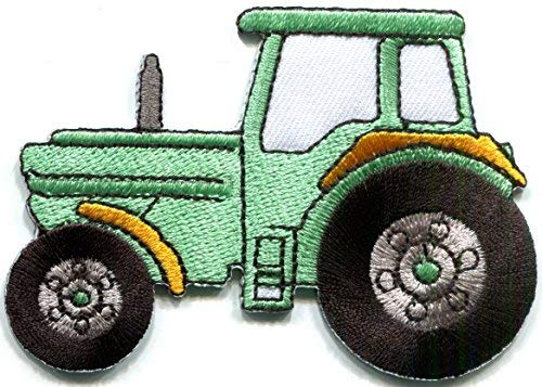 Tractor crawler plow farm truck mint green embroidered applique iron-on patch new S-1344