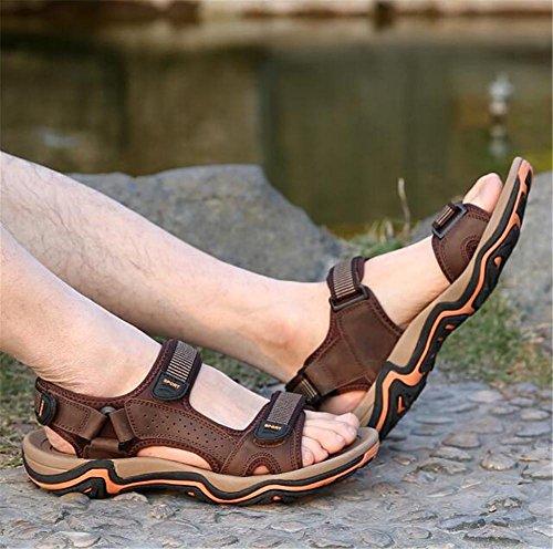 Playa Aire Brown NSLXIE Cuero Trekking EU41 Cerrado Transpirable 38 a Libre Antideslizante Genuino Tamaño Sandalias Zapatos 44 al Hombre Verano eu43 Punta Viajando qOxw1Ot