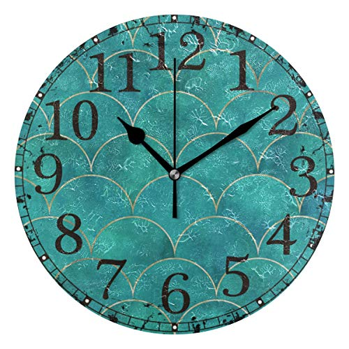 Wall Clock Fish Scale Wavemermaid Turquoise Round Acrylic Clock Black Large Numbers Silent Non-Ticking 9.45