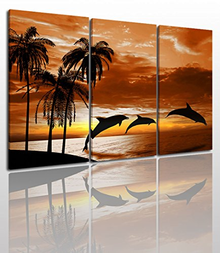 - Beach Sunset Canvas Wall Art Painting Modern Design Picture for Home Office Decor - 3 Pieces Seascape Dolphin Plam Tree Framed On Wooden Frame Image Pictures Photo Artwork Decoration Ready to Hang