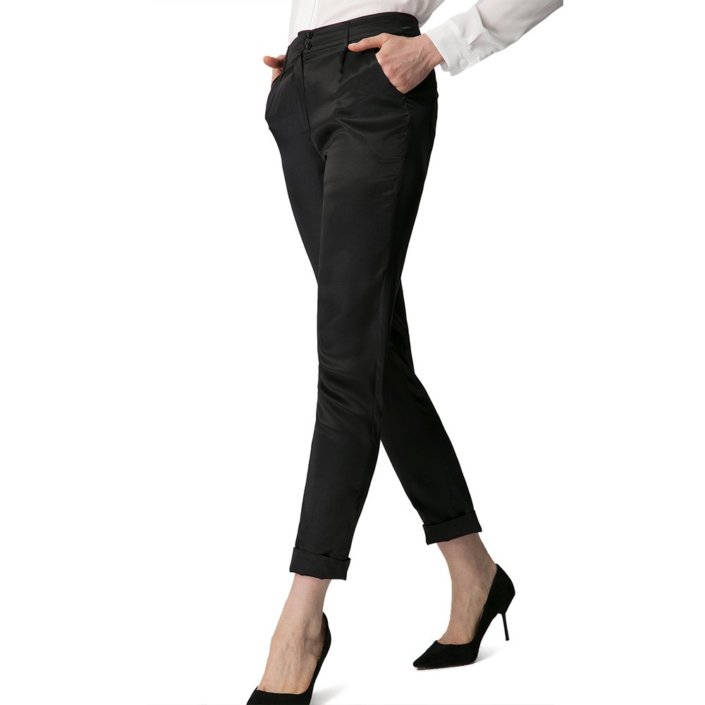 LilySilk Silk Dress Pants For Women Pencil Show Off Your Legs In Pure Real Silk 19MM Soft Breathable Black Medium