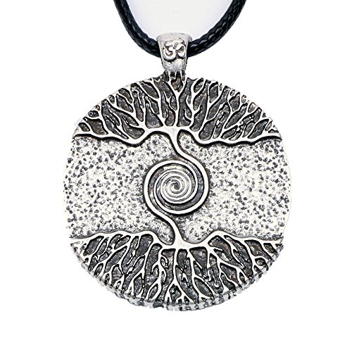 Paw Paw House Yoga Inspired Kybalion Pendant Necklace Amulet Tree of Life Talisma Chi As Above As Below As within As without Meditation (4082 Si) (Spiral Design Necklace)