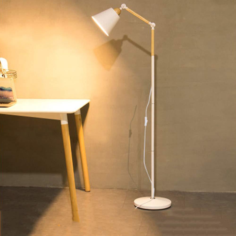 EFGS Stehlampe, Einfache E27 Schmiedeeisen Bodenleuchte Studie Leselicht, Geeignet Für Schlafzimmer Wohnzimmer Büro,Weiß
