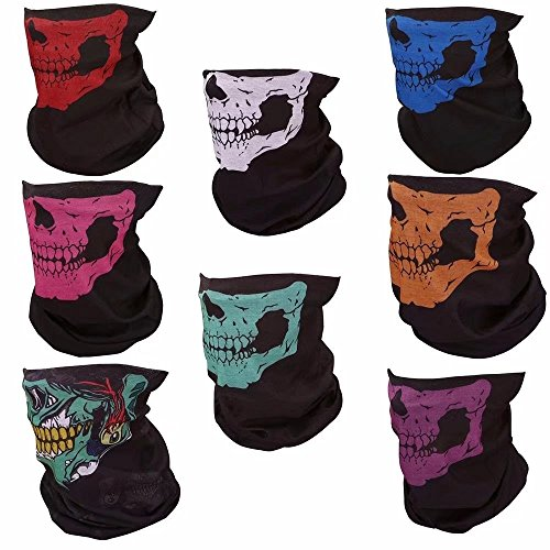 HonsCreat 8 Pack Motorcycle Face Mask Breathable Skull Dustproof Bike Face Mask (James Bond Girl Costumes Halloween)