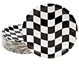 Disposable Plates - 80-Count Paper Plates, Car Racing Party Supplies for Appetizer, Lunch, Dinner, and Dessert, Birthdays, Checkered Flag Design, 9 x 9 inches