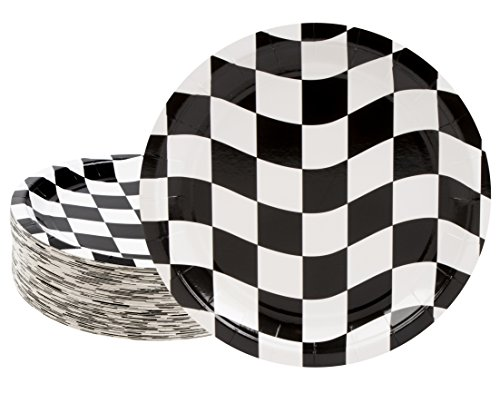 Disposable Plates - 80-Count Paper Plates, Car Racing Party Supplies for Appetizer, Lunch, Dinner, and Dessert, Birthdays, Checkered Flag Design, 9 x 9 -