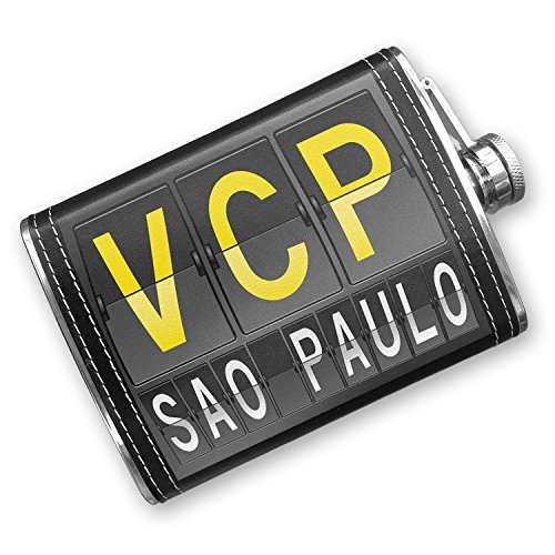 8oz Flask Stitched VCP Airport Code for Sao Paulo Stainless Steel - Neonblond