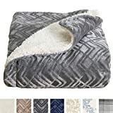 Home Fashion Designs Premium Reversible Sherpa and Sculpted Velvet Plush Luxury Blanket. Fuzzy, Soft, Warm Berber Fleece Bed Blanket Brand. (King, Pewter)