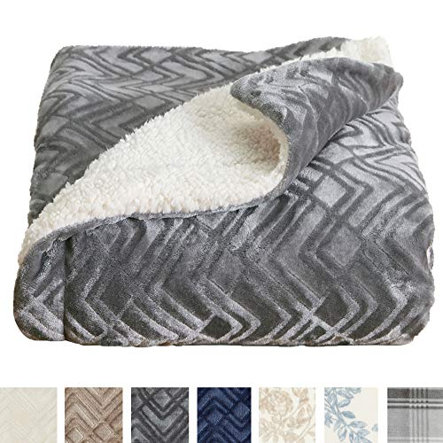 (Home Fashion Designs Premium Reversible Sherpa and Sculpted Velvet Plush Luxury Blanket. Fuzzy, Soft, Warm Berber Fleece Bed Blanket Brand. (Full/Queen, Pewter))