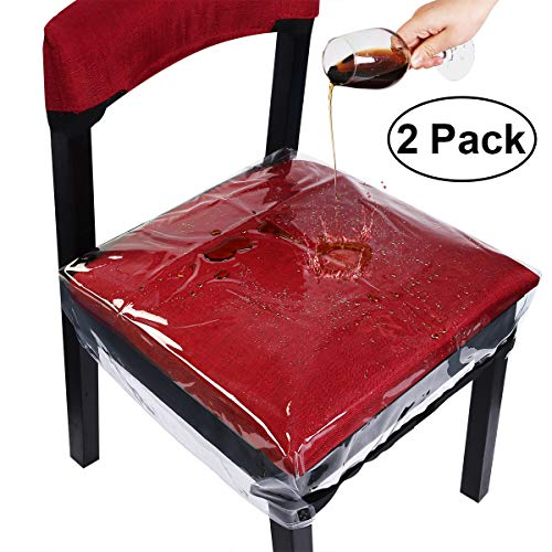 Homemaxs Dinning Chair Covers Chair Protector Waterproof Bigger Size with Adjustable Belt Strap for Most Chairs Clear, 2 - Seat Plastic Chair Covers
