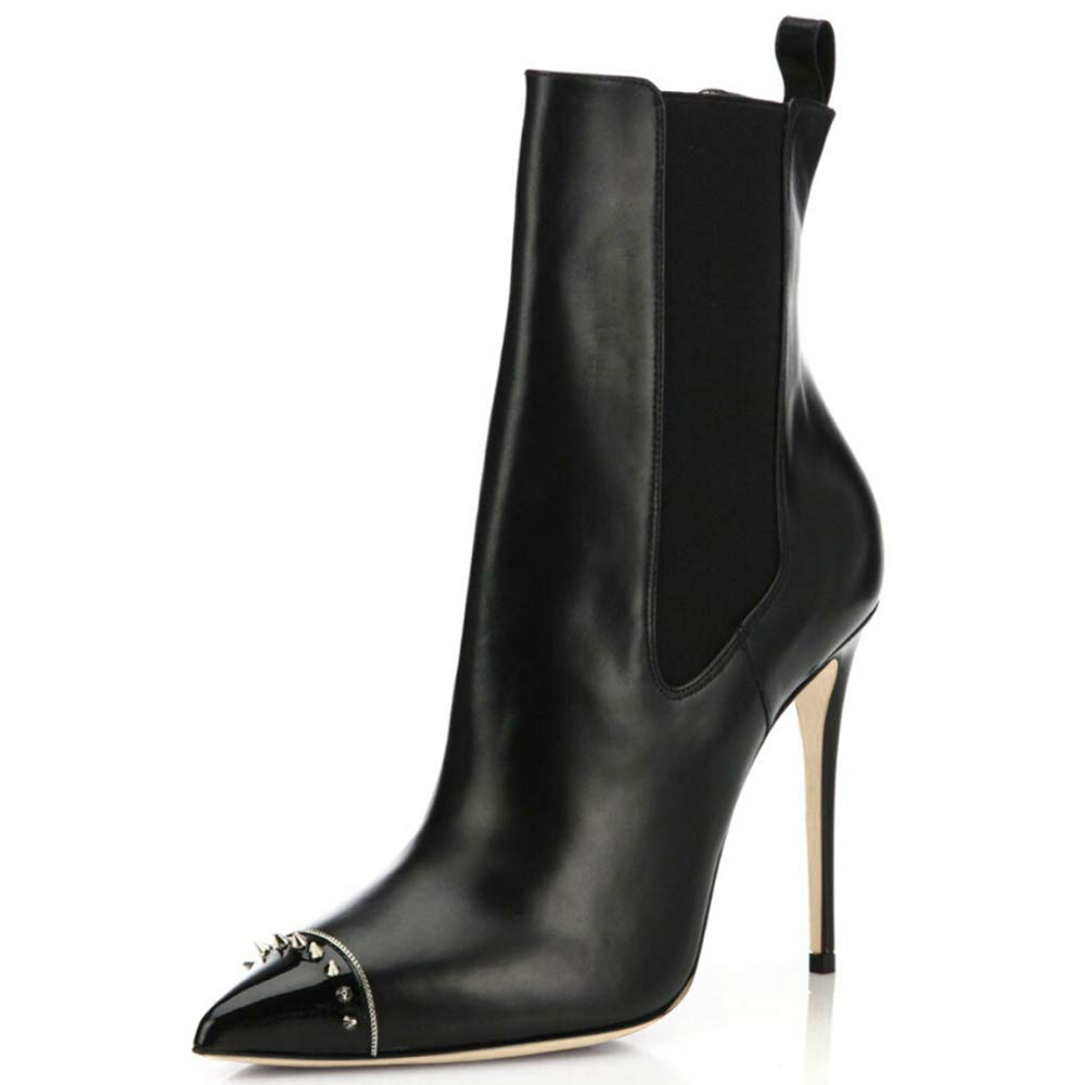 Femmes PU Cuir Sexy Bottes Dames Black Bureau Stretch Sexy Talon Haut Bout Pointu Bottines Travail Bureau Black ecd3185 - reprogrammed.space