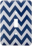 3dRose lsp_193378_1 Navy and White Chevron Light Switch Cover