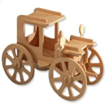 3-D Wooden Puzzle - Small Rolling Automobile Model -Affordable Gift for your Little One! Item #DCHI-WPZ-P004