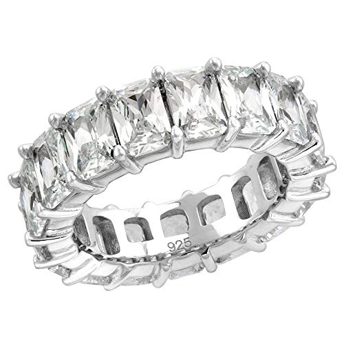 - Sterling Silver 6X4mm Radiant Cut CZ Eternity Band for Women Claw Setting Rhodium Finish 1/4 inch Wide Size 6