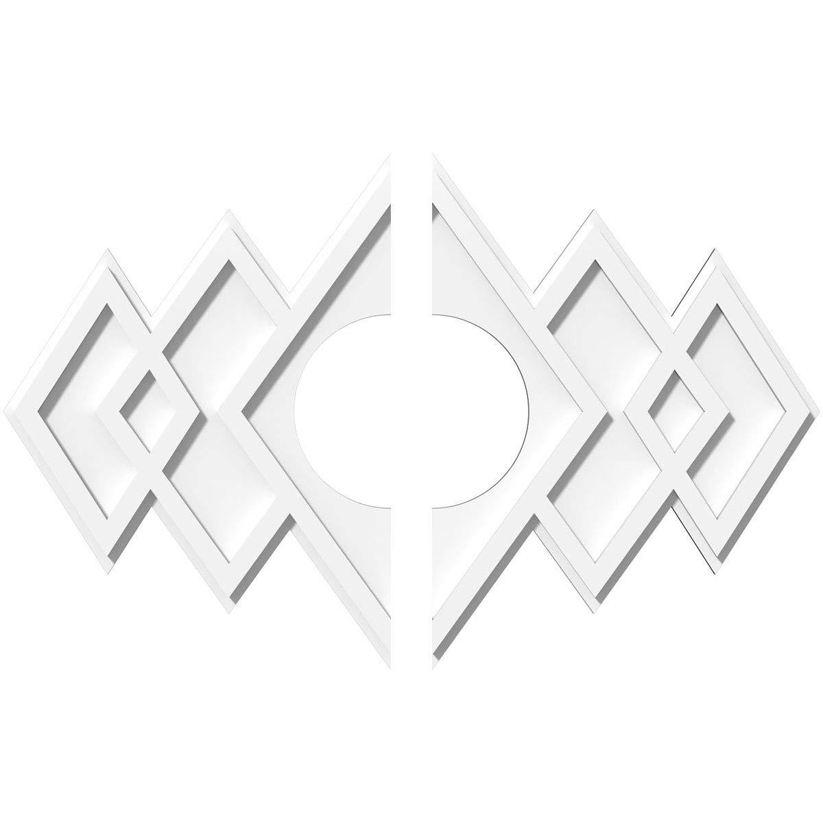 Ekena Millwork CMP28X18ZE2-07000 Ceiling Medallion, 28''W x 18 5/8''H x 7''ID x 8 3/4''C x 1''P, White