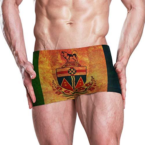 Vintage Yukon Provincial Flag Men's Swim Trunks Swimming Briefs Beach Shorts Boxer Briefs