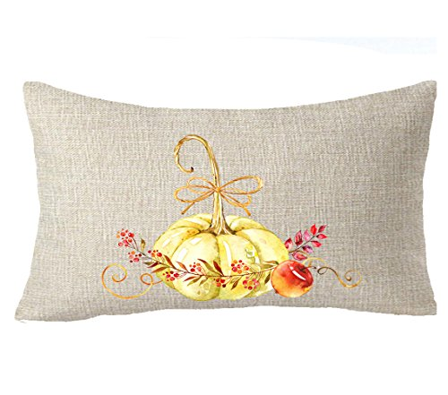 Thanksgiving gift bless Oil painting watercolor Autumn fall harvest pumpkin Maple Leaf Throw Pillow Cover Cushion Case Cotton Linen Material Decorative 12''X20''