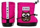 Stonz Three Season Stay-On Baby Booties, For Bare Feet or Shoes, For Mild or Cold Snow Weather, Owl - Fuchsia PLUSfoam Large