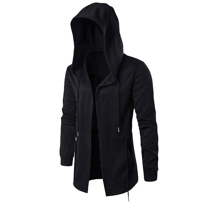 SUCES Herren Kapuzenjacke, Herbst Winter Lässige Hoodie Langarm Outwear  Männer Mode Einfarbig Sweatshirt Reißverschluss Mantel Cardigan Kapuzen  Trenchcoat  ... b5ad7fc46a