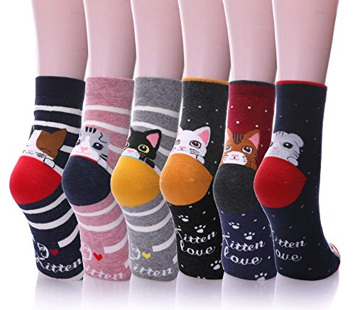 Dosoni Girl Cartoon Animal Cute Casual Cotton Novelty Crew socks 6 packs-Gift Idea (Dot & Stripe Cats)