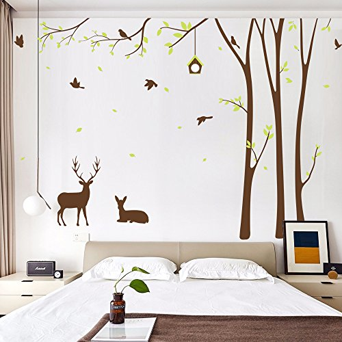 Forest Fawn Wall Stickers for Kids Nursery Bedroom Living Room Decorative Painting Supplies Decals Fashion House Decoration