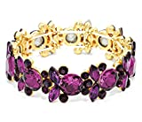 Fancy Purple Stretch Bracelet BR Round Marquise Crystal Glass Stones Gold Tone