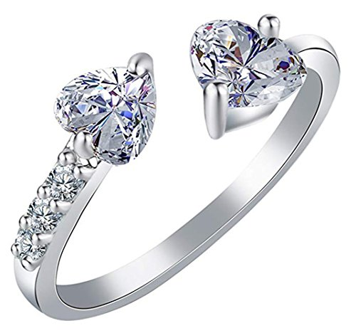 Cutesmile Fashion Jewelry Gold/Silver Dazzling Double Love Heart Crystal Adjustable Open Ring for Women Girls ()