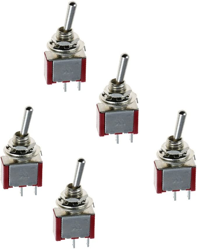 Supmico 5 X On//Off//On Momentary Mini Miniature Small Toggle Switch Car Motor Dash Dashboard SPDT 3Pin Metal