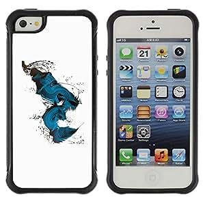 Suave TPU GEL Carcasa Funda Silicona Blando Estuche Caso de protección (para) Apple Iphone 5 / 5S / CECELL Phone case / / Teal Abstract Peacock Bird White /
