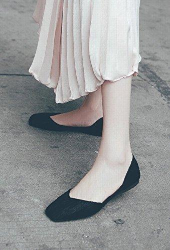 Cuadrada Perezosos Casuales de 35 de Los Boca DHG Inferior Parte Zapatos la Negro de Baja Zapatos Ballet la Salvajes del TwfxnOX5qH