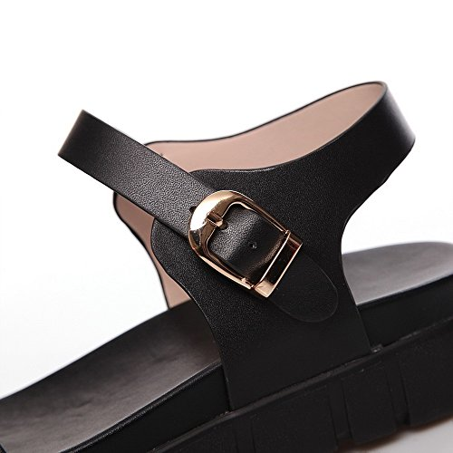 Cow Leather AllhqFashion Womens Low Open Sandals Black Solid Buckle Heels Toe 4qPF5