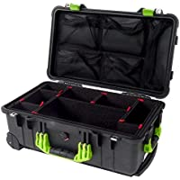 Pelican Colors series - Black & Lime Green 1510 with TrekPak dividers & 1519 Lid org.