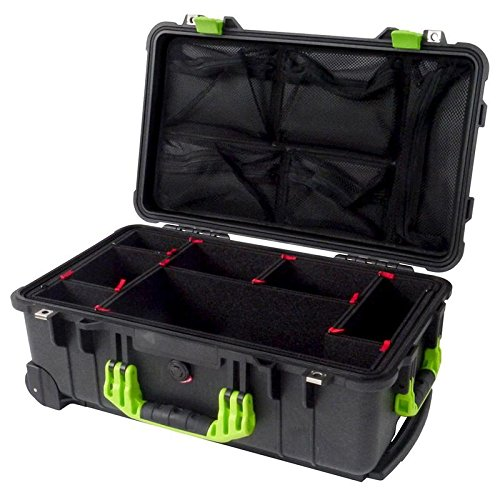 Pelican ''Colors'' series - Black & Lime Green 1510 with TrekPak dividers & 1519 Lid org. by Pelican
