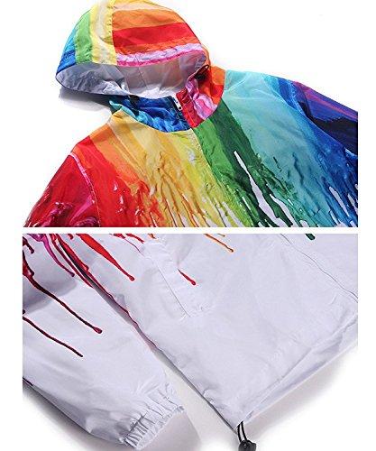 Minetom Unisex Mujer Hombres Otoño Primavera Chaqueta 3D Hip Hop Impreso Jacket Cárdigan Con Capucha Manga Larga Rompevientos Multicolor